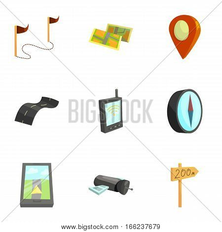 Cartography and geography tools icons set. Cartoon illustration of 9 cartography and geography tools vector icons for web