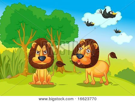 illustration of lions in jungle