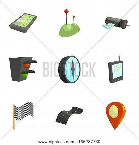 Location, position icons set. Cartoon illustration of 9 location, position vector icons for web