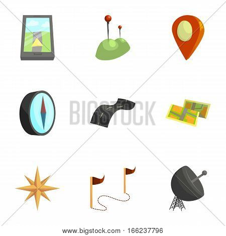Map, navigation icons set. Cartoon illustration of 9 map, navigation vector icons for web