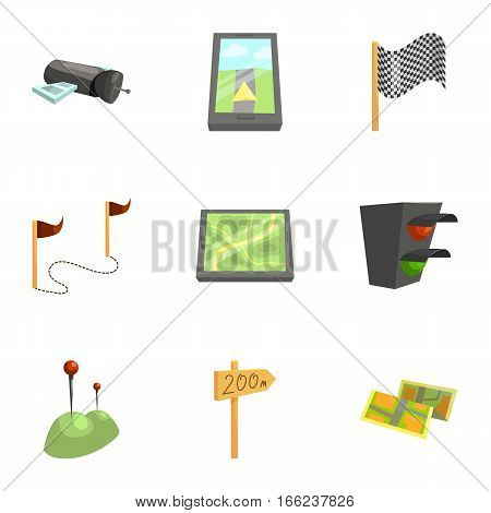 GPS and navigation icons set. Cartoon illustration of 9 GPS and navigation vector icons for web