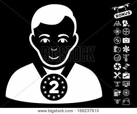 2nd Prizer Sportsman pictograph with bonus uav tools symbols. Vector illustration style is flat iconic white symbols on black background.