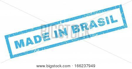 Made In Brasil text rubber seal stamp watermark. Tag inside rectangular shape with grunge design and dirty texture. Inclined vector blue ink sticker on a white background.