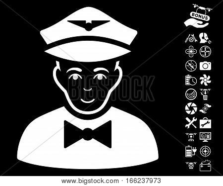 Airline Steward pictograph with bonus airdrone tools icon set. Vector illustration style is flat iconic white symbols on black background.