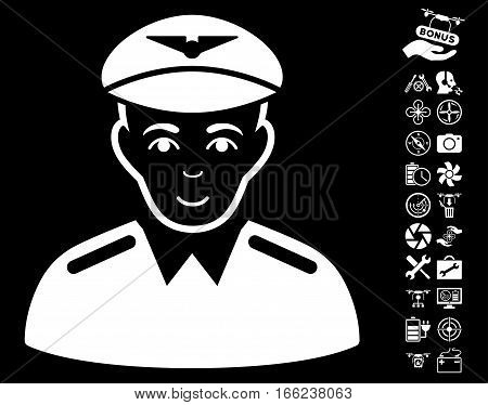 Aviator pictograph with bonus airdrone tools icon set. Vector illustration style is flat iconic white symbols on black background.