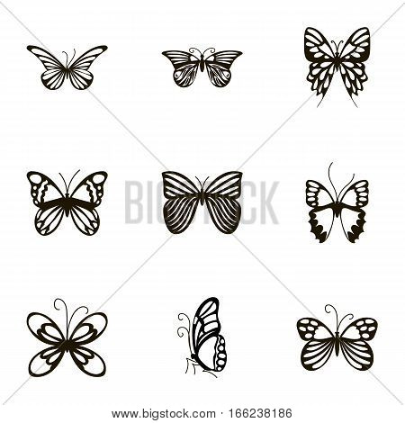 Butterflies with open wings icons set. Cartoon illustration of 9 butterflies with open wings vector icons for web