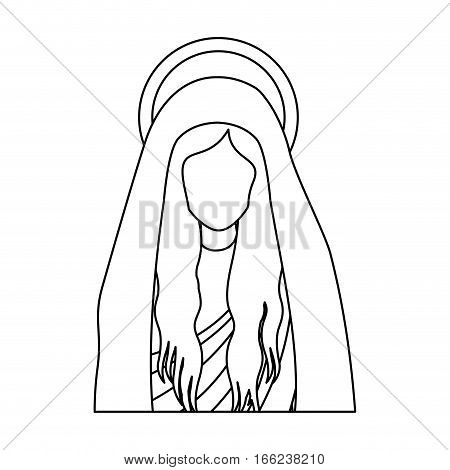 silhouette half body saint virgin mary vector illustration