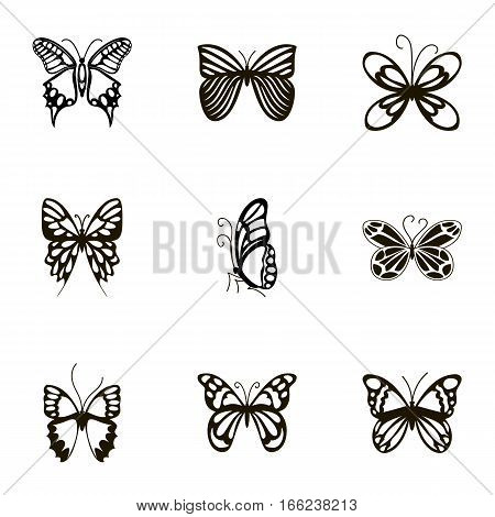 Black beautiful butterflies icons set. Cartoon illustration of 9 black beautiful butterflies vector icons for web