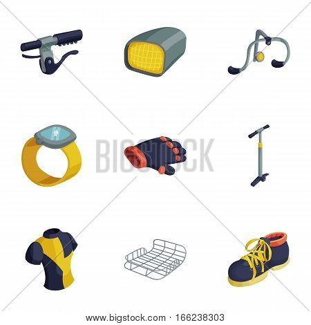 Bicycle equipment icons set. Cartoon illustration of 9 bicycle equipment vector icons for web