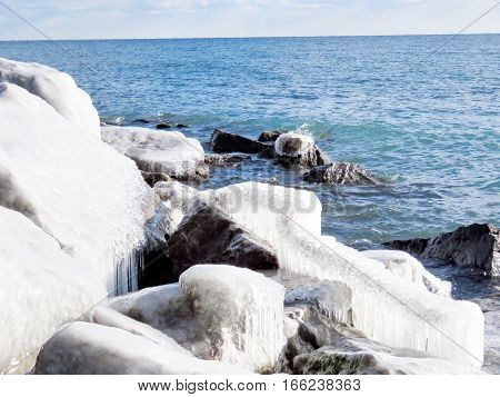 Glacial landscape on a shore of the Lake Ontario in Toronto Canada January 6 2017