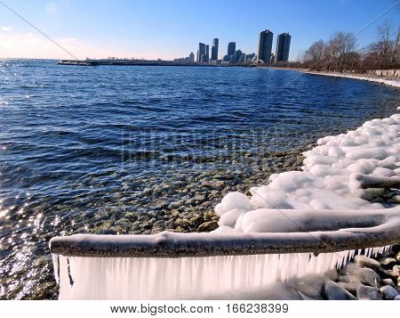 The iced shore of the Lake Ontario in Toronto Canada January 6 2017