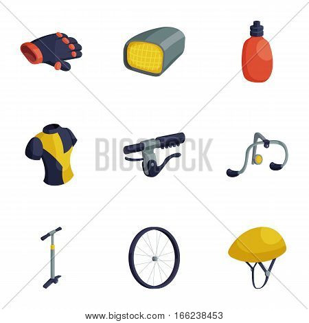 Cycling accessories icons set. Cartoon illustration of 9 cycling accessories vector icons for web