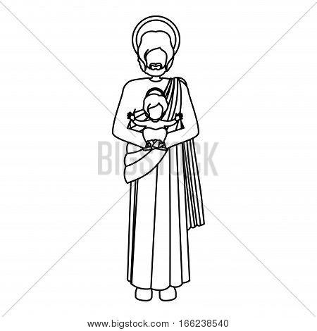 silhouette picture saint joseph with baby jesus vector illustration