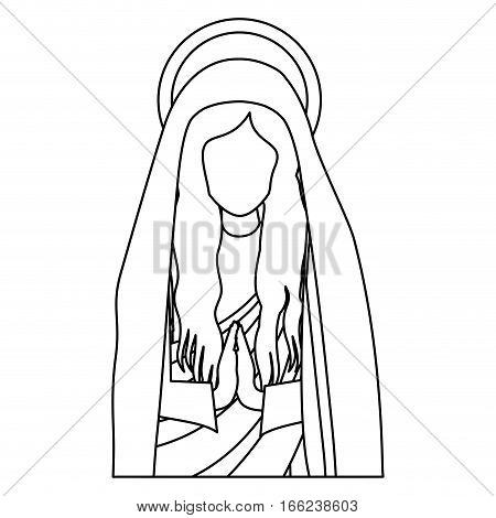 silhouette half body saint virgin mary praying vector illustration
