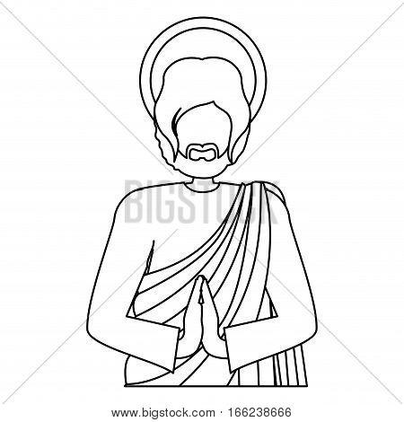 silhouette half body picture saint joseph praying vector illustration