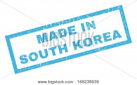 Made In South Korea text rubber seal stamp watermark. Tag inside rectangular banner with grunge design and dust texture. Inclined vector blue ink sticker on a white background.