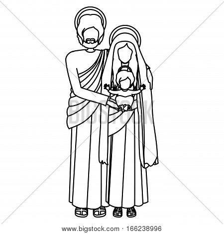 silhouette of sacred family standing vector illustration