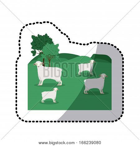 sticker of landscape with sheep and trees vector illustration