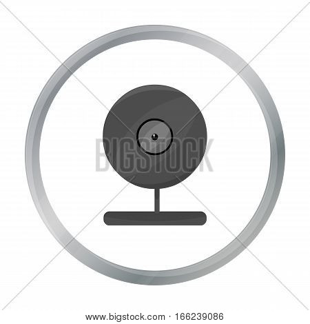 Webcam icon in cartoon style isolated on white background. Personal computer symbol vector illustration. - stock vector