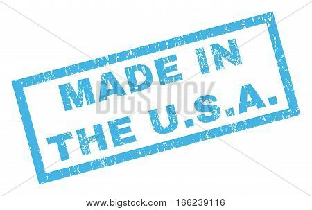 Made In The U.S.A. text rubber seal stamp watermark. Caption inside rectangular banner with grunge design and dust texture. Inclined vector blue ink sign on a white background.