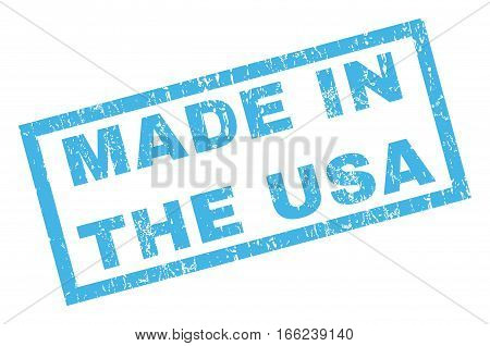 Made In The USA text rubber seal stamp watermark. Tag inside rectangular banner with grunge design and scratched texture. Inclined vector blue ink sticker on a white background.