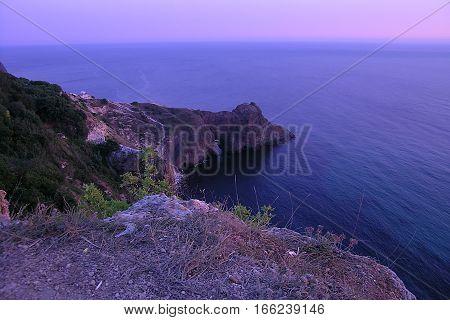 Pink purple dusk under Fiolent Cape sea