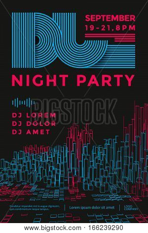 Dance night party design poster. Dj battle show. line abstract equalizer. Vector illustration