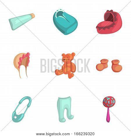 Newborn care icons set. Cartoon illustration of 9 newborn care vector icons for web