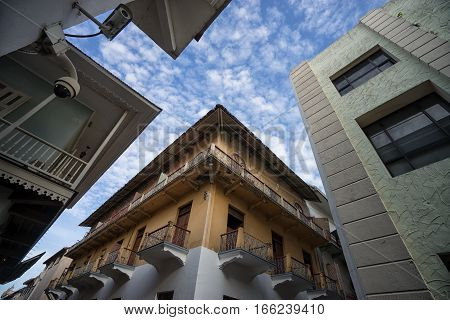 June 25 2016 Panama City Panama: security cameras on the street of Casco Viejo the historical downtown of the capital