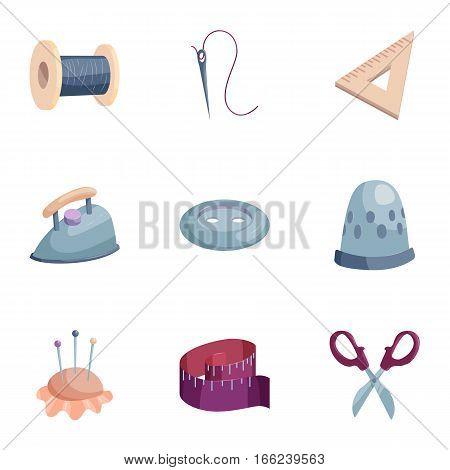 Needlework icons set. Cartoon illustration of 9 needlework vector icons for web