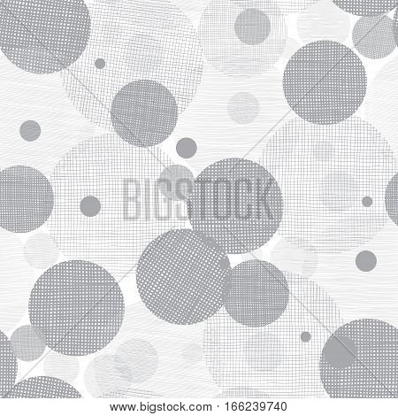 Vector Silver Grey Circles Dots Seamless Pattern Background With Fabric Texture.