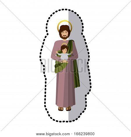 sticker picture saint joseph with baby jesus shading vector illustration