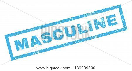 Masculine text rubber seal stamp watermark. Tag inside rectangular shape with grunge design and dirty texture. Inclined vector blue ink sticker on a white background.