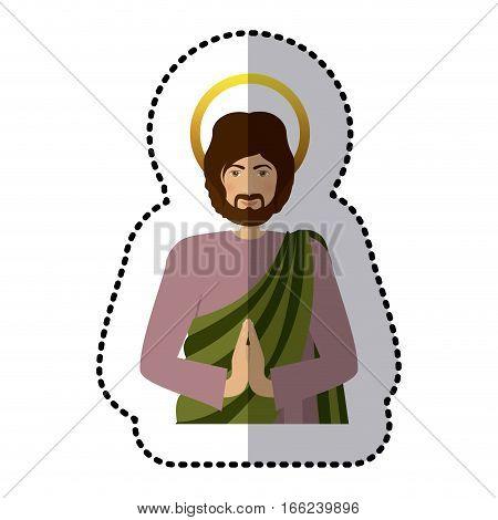 sticker half body picture saint joseph praying vector illustration