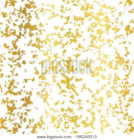 Vector Golden On White Abstract Grunge Flake Foil Texture Seamless Pattern Background. Great for elegant gold fabric, cards, wedding invitations, wallpaper, floor, kitchen tile. Surface pattern design.