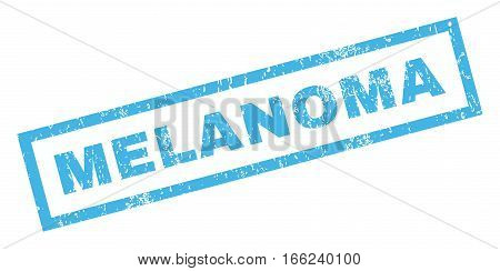 Melanoma text rubber seal stamp watermark. Caption inside rectangular banner with grunge design and unclean texture. Inclined vector blue ink sign on a white background.