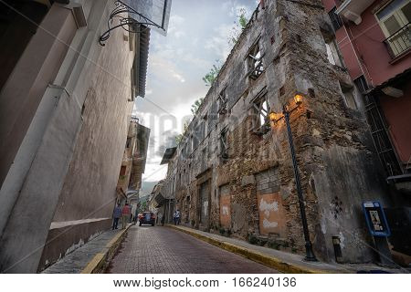 June 25, 2016 Panama City, Panama: ruins in decay in Casco Viejo the historical downtown of the capital city