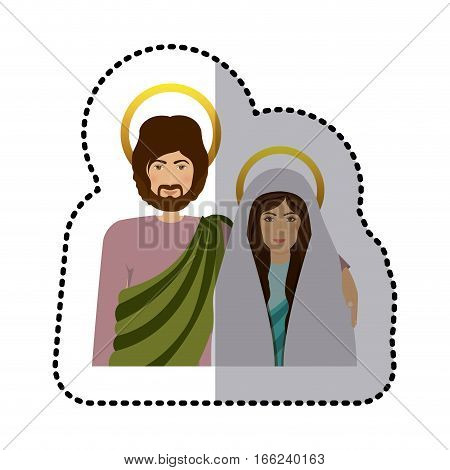sticker half body picture medium shade of virgin mary and saint joseph vector illustration