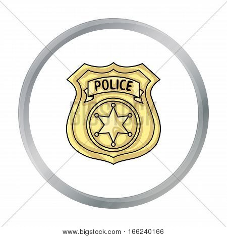 Police officer badge icon in cartoon style isolated on white background. Crime symbol vector illustration. - stock vector