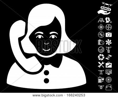 Receptionist icon with bonus airdrone service pictures. Vector illustration style is flat iconic white symbols on black background.