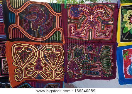 colourful traditional textiles in Casco Viejo Panama City