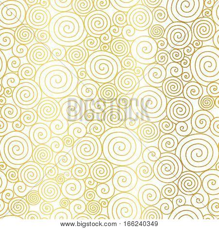 Vector Golden White Abstract Swirls Seamless Pattern Background. Great for elegant gold texture fabric, cards, wedding invitations, wallpaper. Surface pattern design.