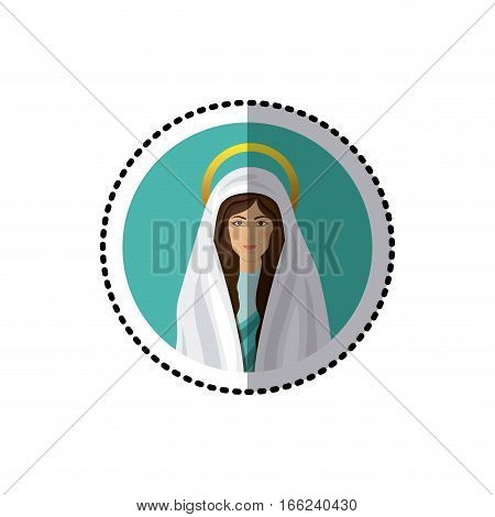 circular sticker with half body picture colorful saint virgin mary vector illustration