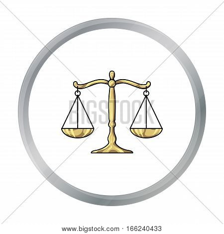 Scales of justice icon in cartoon style isolated on white background. Crime symbol vector illustration. - stock vector