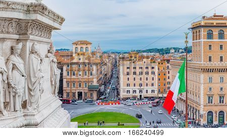 Panoramic View Onto Piazza Venezia From Altar Of The Fatherland In Rome Italy