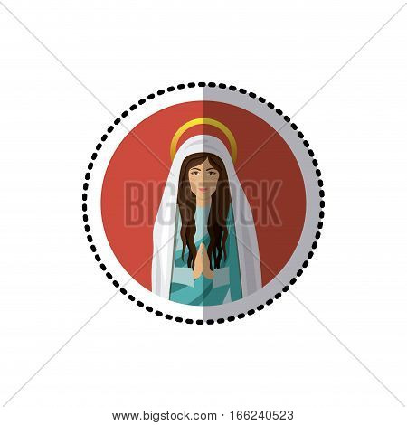circular sticker with half body saint virgin mary praying vector illustration