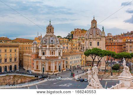 Rome Skyline And Domes Of Santa Maria Di Loreto Church