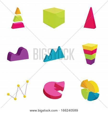 Colorful chart icons set. Cartoon illustration of 9 colorful chart vector icons for web