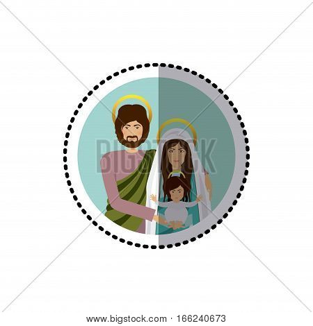 circular sticker with half body picture of sacred family vector illustration