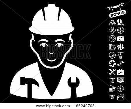 Serviceman pictograph with bonus quad copter tools design elements. Vector illustration style is flat iconic white symbols on black background.